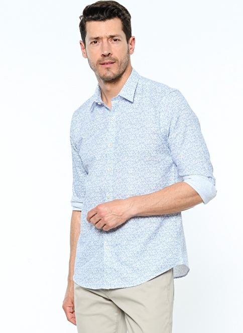 Lufian Slim Fit Desenli Gömlek Mavi